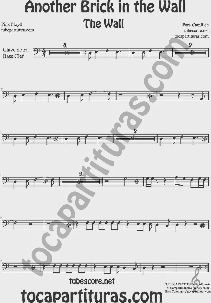 PARTITURA FÁCIL EN CLAVE DE FA The Wall Partitura de Trombón Tuba Chelo Fagot Euphonium... Another Brick in the Wall Music Scores in Bass Clef