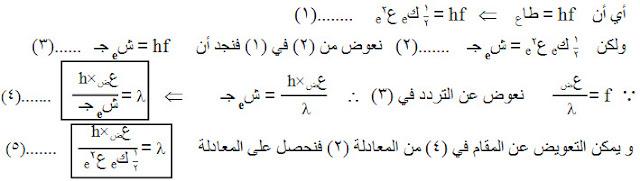 حساب أقصر طول موجي للأشعة السينية، العلاقة بين الطول الموجي والتردد للأشعة السينية وفرق الجهد بين الكاثود والآنود وسرعة الإلكترون، طاقة حركة الإلكترون، الطاقة الكهربية بين الكاثود والانود، دروس فيزياء الصف الثالث الثانوي، منهج اليمن، الوحدة السادسة الإشعاع والمادة