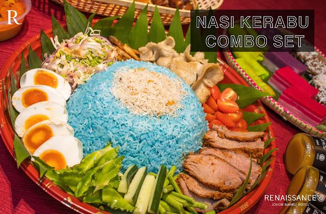 nasi kerabu combo set bazar makan-makan stay home takeaway renaissance johor bahru hotel