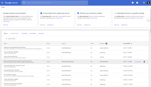 New Rules homepage in the Admin console make security simpler