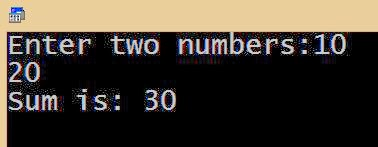 add two number in C program with two variables