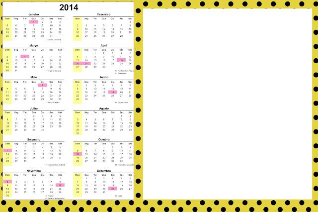 Novidade Molde Limpo E Decorado Calendario 2014
