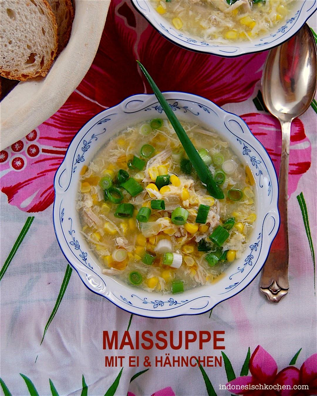 indonesisch kochen: Asiatische Maissuppe mit Eierflocken