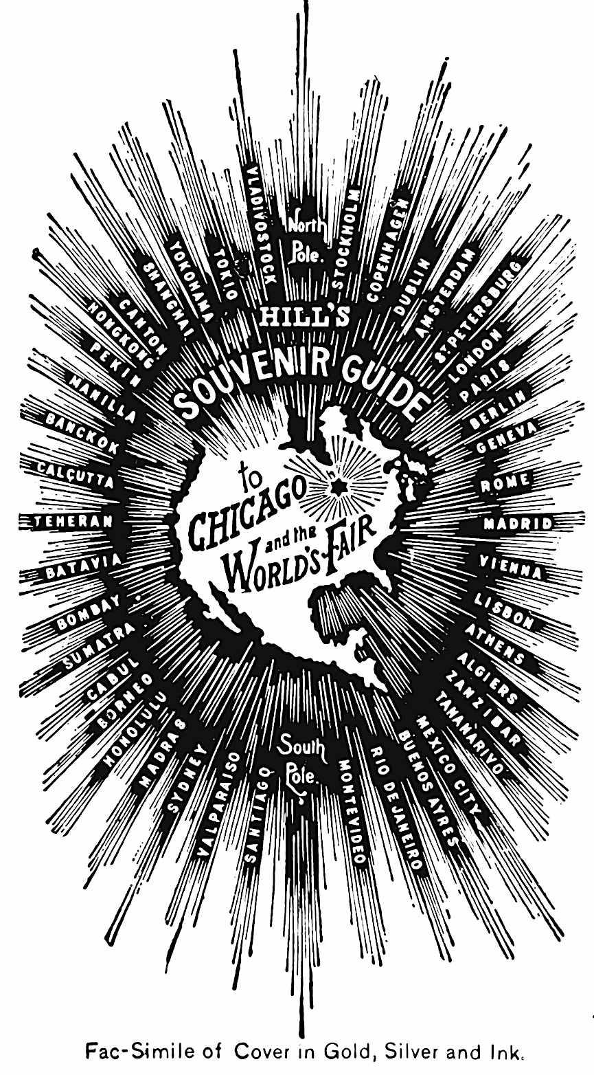 a black and white advertisement showing the cover of a guide book to the 1893 Chicago Word's Fair, a starburst
