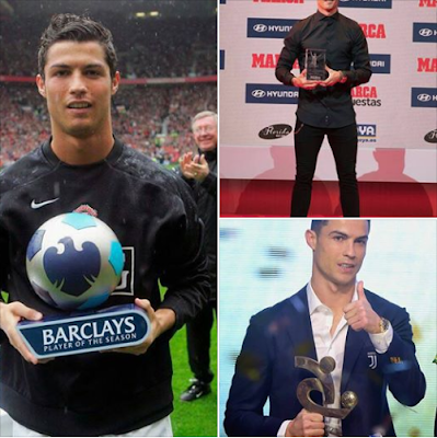 #Cristiano_Ronaldo is now the first player to win the best player award in 3 different leagues (#England #Premier #League, #LaLiga, #Serie A),  #CR7...
