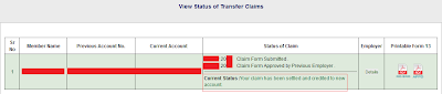 Online PF Account Transfer Status