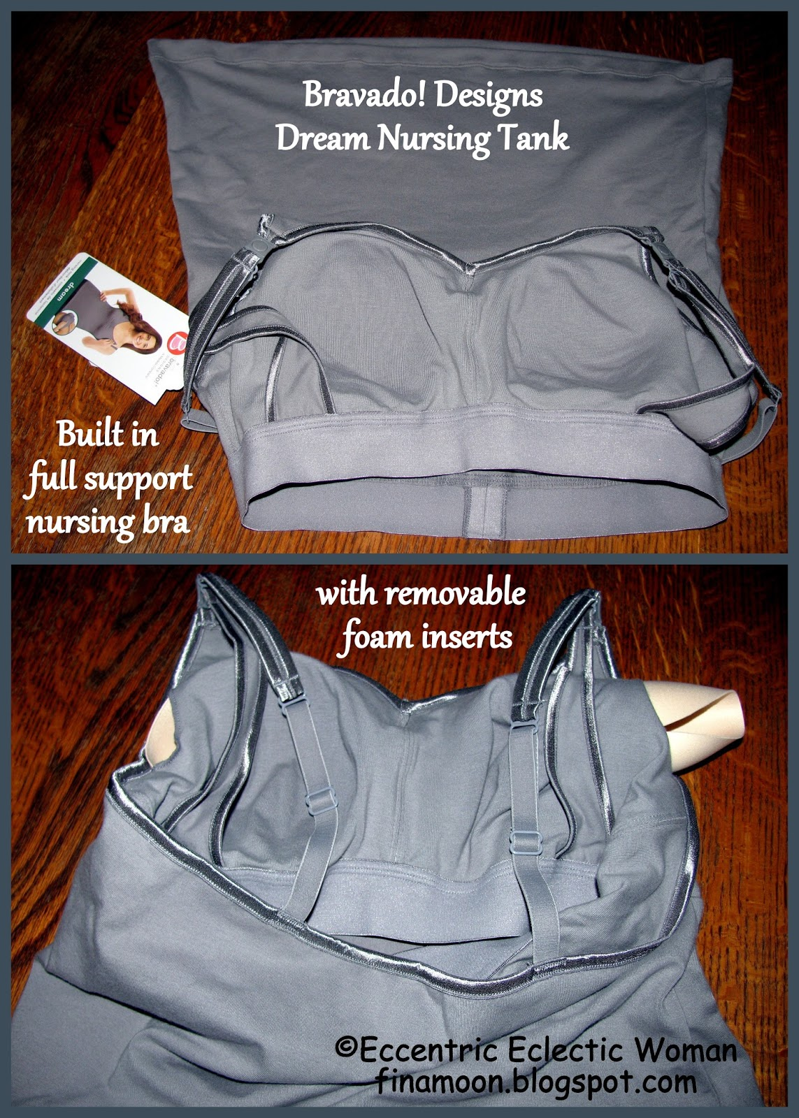 46accf0027 Bravado Dream Nursing Tank has a full support nursing bra with removable  foam inserts.