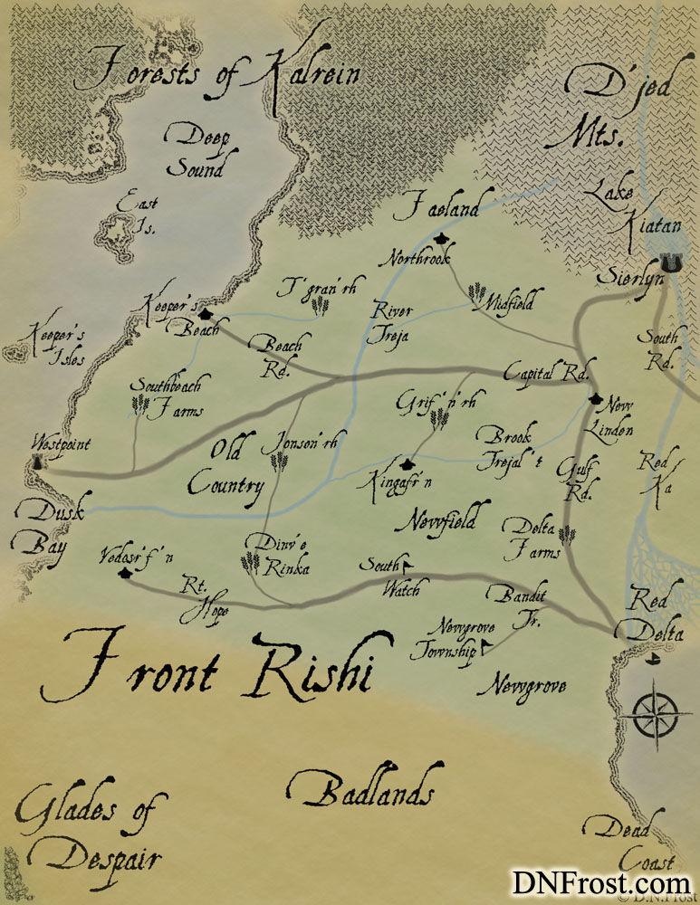 The Front Rishi: windswept plains of the gryphon riders www.DNFrost.com/maps #TotKW A map for Awakening by D.N.Frost @DNFrost13 Part of a series.
