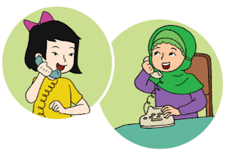 percakapan di telepon antara Siti dan Lani www.simplenews.me