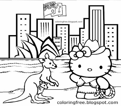 Drawing of Hello Kitty cartoon cute kangaroo wildlife animals in Australia colouring pages for kids