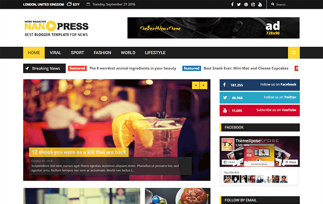 Nanopress - Responsive News/Magazine Blogger Template