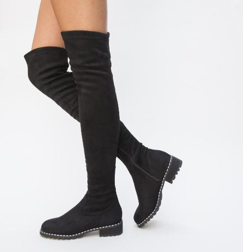 Cizme lungi peste genunchi negre cu toc gros mic piele intoarsa eco