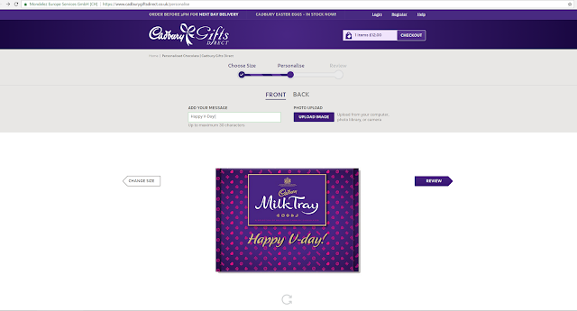 Customised chocolate personalised cadbury valentine's day gift