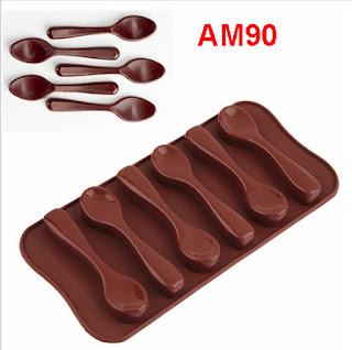AM90 Cetakan silikon coklat es puding silicone Sendok 6 pcs