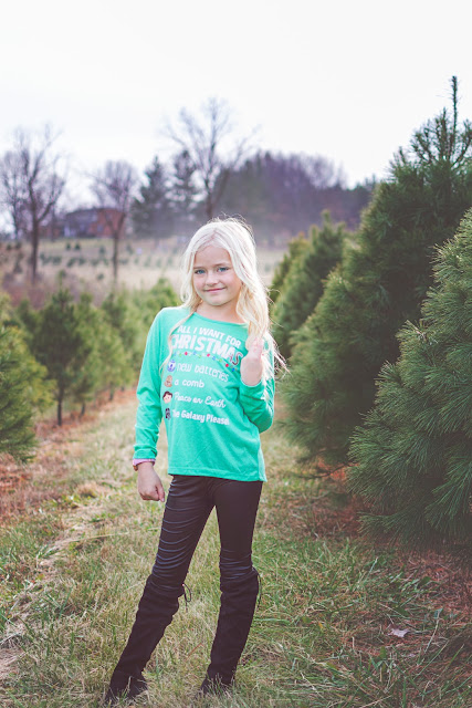 christmas tree farm mom and me blonde shirt idea leather pants otk boots over the knee