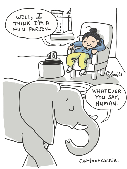 Comic illustration of an introvert in cozy clothes staying at home in the winter with an elephant, by Connie Sun, cartoonconnie, sketchbook drawing, elephant comic strip
