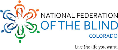 National Federation of the Blind of Colorado logo including the tagline Live the Life You Want