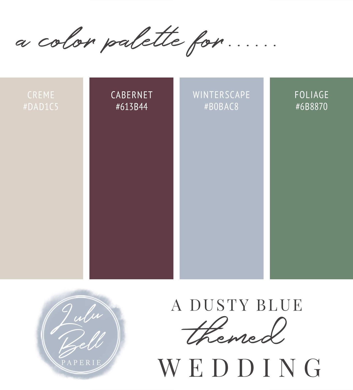 Dusty Blue, Burgundy, Green, and Beige Wedding Color Palette Swatch Card : Creme, Cabernet, Winterscape, and Foliage