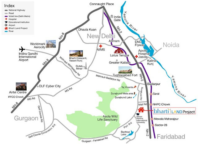 Location map - Bharti The Delhi Ridges