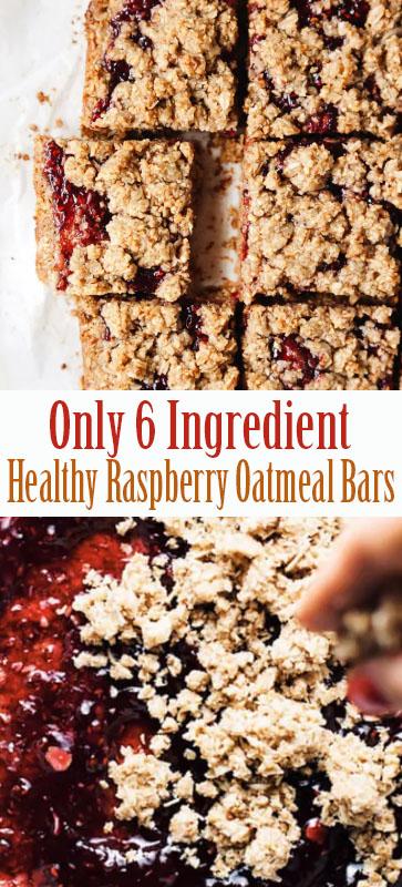 Only 6 Ingredient #Healthy #Raspberry #Oatmeal Bars #easyrecipe #recipe