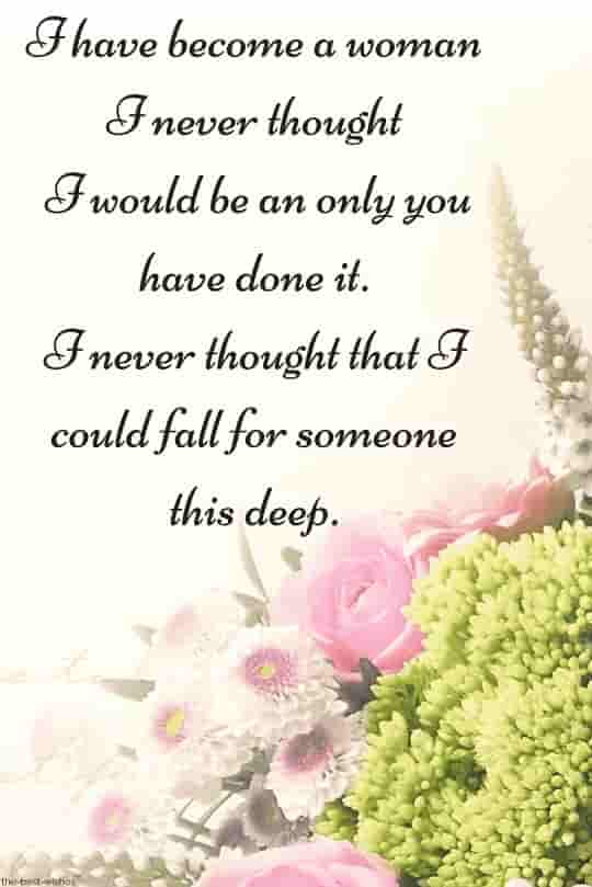 deep romantic love quote for him with bouquet