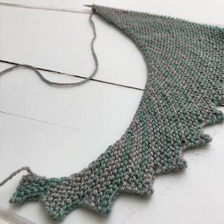 Close up of Hitchhiker shawl