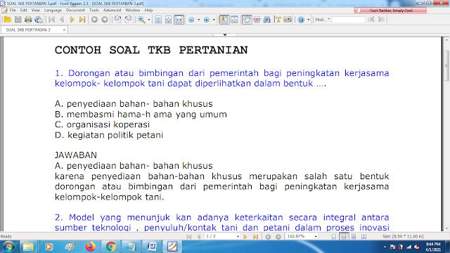 Download contoh soal pppk skb pertanian 3 dan kunci jawaban
