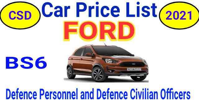 CSD Car Price List 2021 Ford Delhi and Jammu