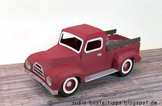 1950 pickup truck mit svg cuts vorlage aus Papier gebastelt von stampin' up! demonstratorin in coburg