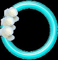 Moldura círculo neon com rosas