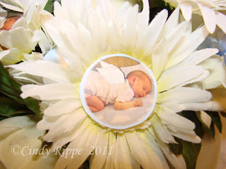 #baby picture as the daisy center, #baby boy party, #Glue Dots, #Photoshop, #easy centerpiece, #Florals-Family-Faith, #Cindy Rippe,