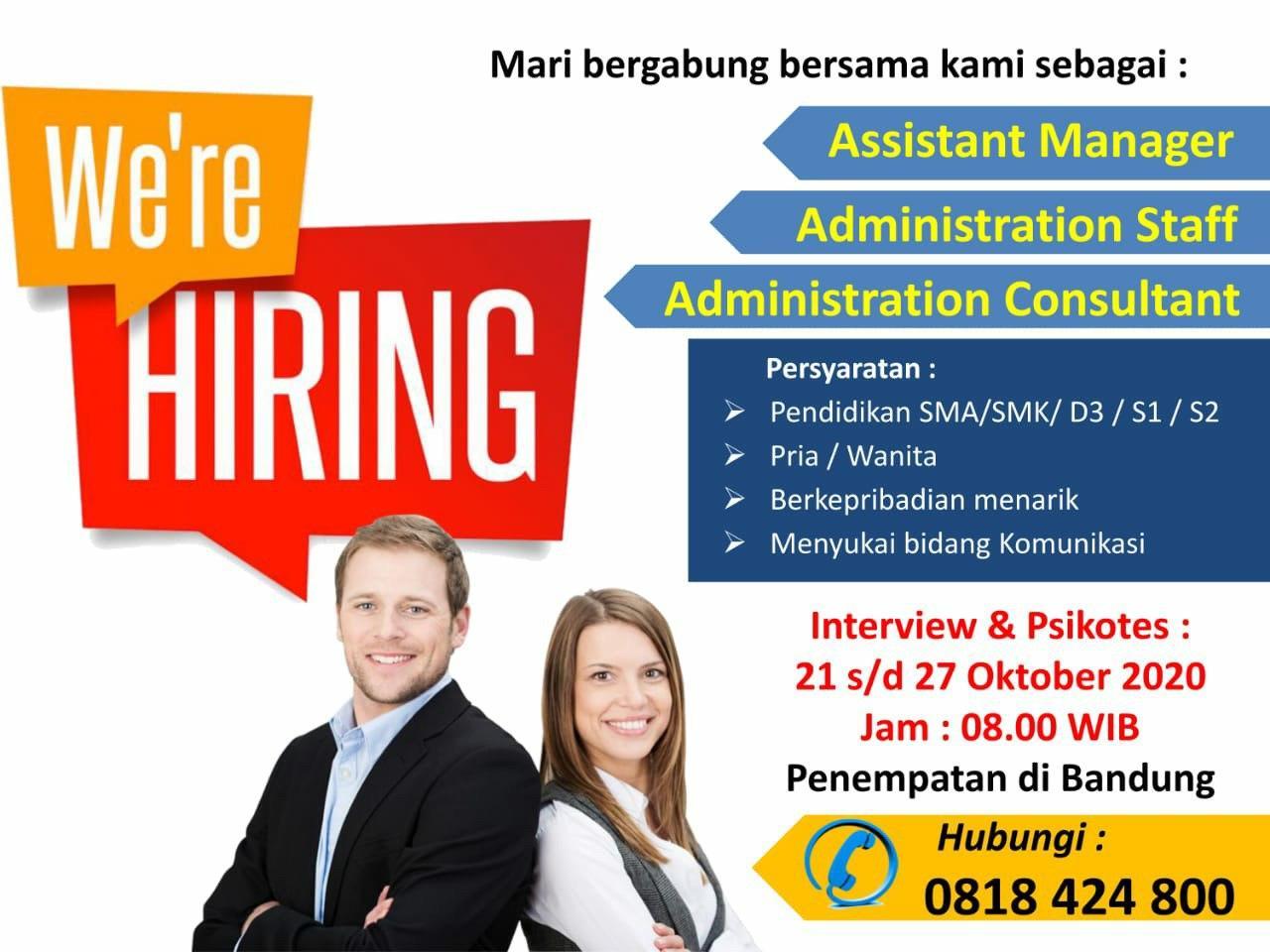 Lowongan Kerja Asistant Manager & Administrasi Staff Consultant Bandung Oktober 2020