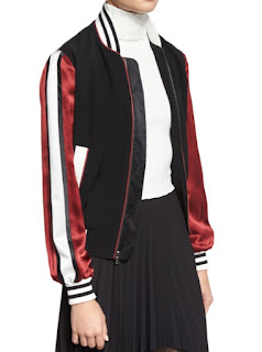 Cinq a Sept Ivy black bomber jacket with red and white striped satin sleeve and white and black stripe elastic trim edging