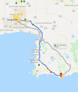 Google Map of Bus Route to Ban Phe Pier in Rayong