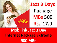 Jazz Packages, Jazz Internet Packages, Jazz 3 Days Internet Packages