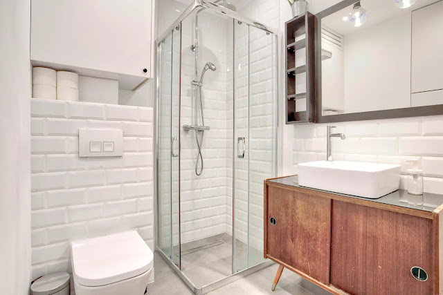 Best apartment krakow holiday rental short term bathroom industrial black white kazimierz