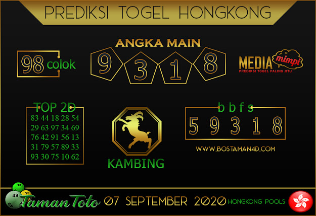 Prediksi Togel HONGKONG TAMAN TOTO 07 SEPTEMBER 2020