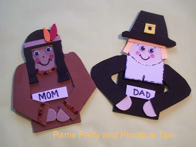 Pilgrim and Indian Thanksgiving Place Card Craft