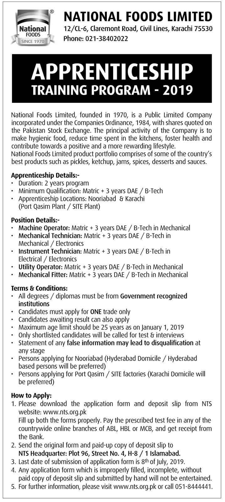 National Foods Limited Karachi Apprenticeship Training Program June 2019