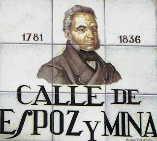 Nueve azulejos de cerámica forman la placa, enla que aparece el busto del general y las fechas (1836)
