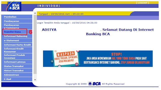 Cara Menambah Daftar Rekening Tujuan di KlikBCA / Internet Banking BCA - Halaman Menu Transfer Dana KlikBCA