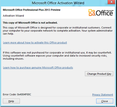 this copy of Microsoft office is not activated