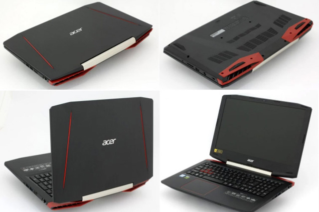 notebook gamer acer vx5 ângulos, parte superior, inferior