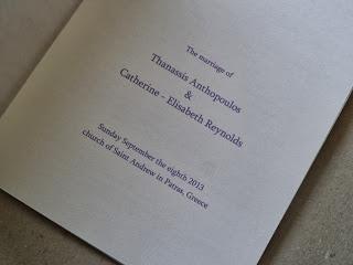 έντυπο στα αγγλικά με περιγραφή της τελετής