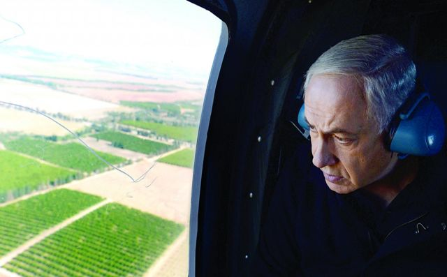 Netanyahu en Helicoptero