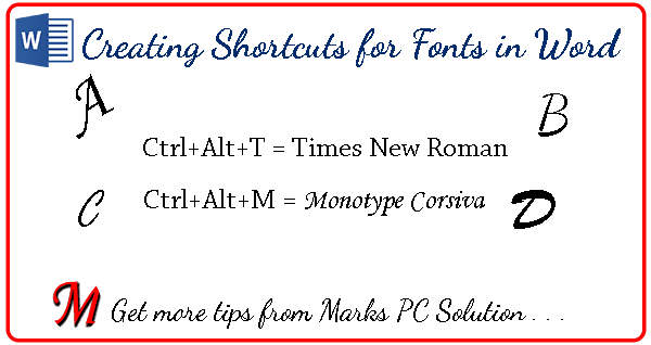 Keyboard Shortcuts for Fonts