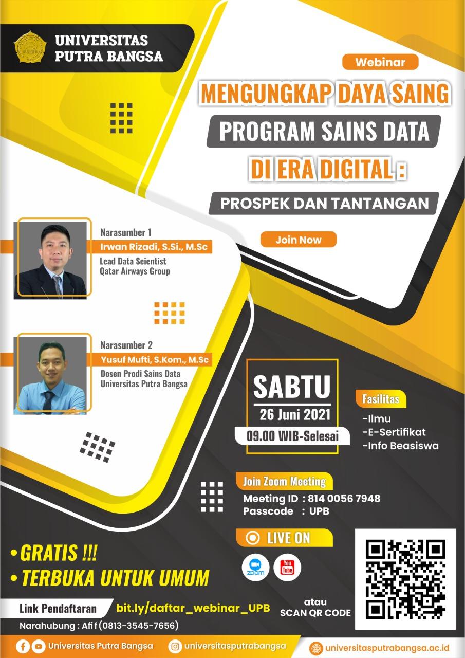 Prodi Sains Data UPB Bakal Gelar Webinar Data Sains Gratis