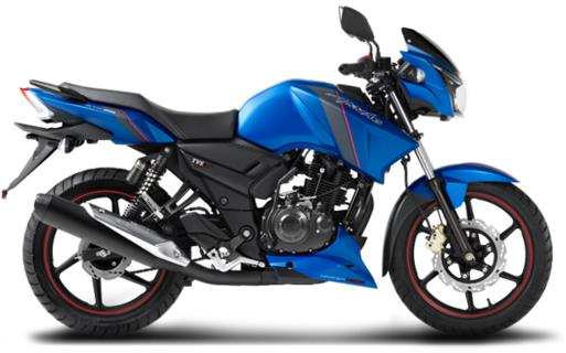 TVS Apache RTR 160 blue side image