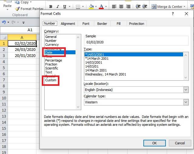 format tanggal melalui format cells excel