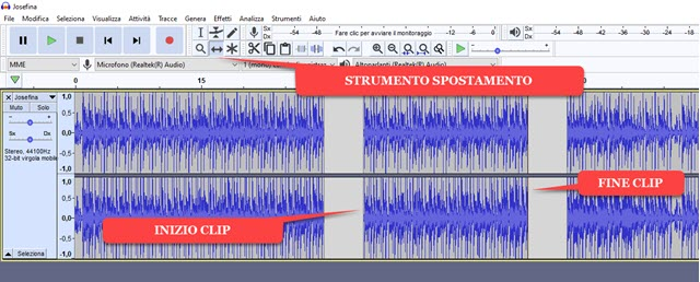 dividere e separare le clip in audacity